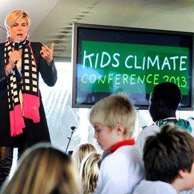 Alweer het woord 'kids': Prinses Laurentien spreekt de kinderen toe tijdens de Kids Climate Conference 2013.